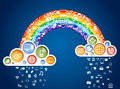 Rainbow of icons Royalty Free Stock Photos