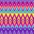 Rainbow ikat colorful hippie zigzag seamless background Stock Image