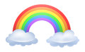 Rainbow illustration of a arced between two clouds Stock Images