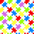 Rainbow Jigsaw Pieces Geometric Seamless Background Royalty Free Stock Photo