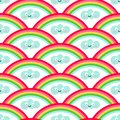 stock image of  Rainbow and kawaii style seamless pattern