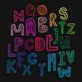 Rainbow kids decorative font crazy letters hand drawn illustration alphabet