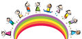 Rainbow kids jumping happy on Royalty Free Stock Photography