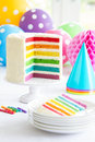Rainbow layer cake brightly colored Stock Images