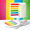 Rainbow layer cake on a stand Royalty Free Stock Photography