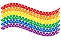 Rainbow LGBT flag with heart shapes, wavy gay pride flag