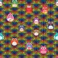 Rainbow line half owl fence seamless pattern