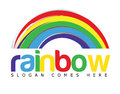 Rainbow logo concept vector template depicting a with colored text suitable for various businesses Stock Image