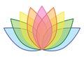 Rainbow Lotus Flower Icon Logo on White Background Illustration 1