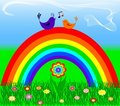 Rainbow with love bird Stock Photos