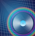Rainbow lp encircles record with receding background Royalty Free Stock Photos