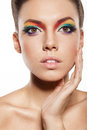 Rainbow makeup Stock Photography
