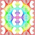 Rainbow mandala hearts seamless pattern Royalty Free Stock Photo