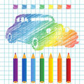 Rainbow manuscript car Royalty Free Stock Image