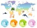 Rainbow map earth Royalty Free Stock Photo