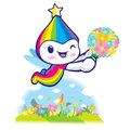 Rainbow mascot flying to the sky dream of fairy character desig design series Royalty Free Stock Images