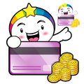 The rainbow mascot is holding a big credit card dream of fairy character design series Royalty Free Stock Photo