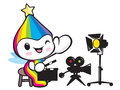 Rainbow mascot is playing movie shooting dream of fairy charact character design series Stock Photos