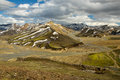 Rainbow mountains iceland panorama of near landmannalaugar Royalty Free Stock Image