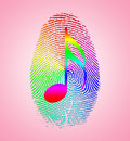 Rainbow music finger print on pink Royalty Free Stock Photos