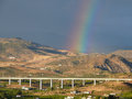 Rainbow over ave the in the guadalhorce valley Stock Photos