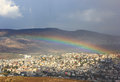 Rainbow over Cana of Galilee, Israel Royalty Free Stock Image