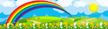 Rainbow over the flower field Royalty Free Stock Images