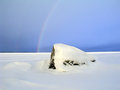 Rainbow over the frozen lake Royalty Free Stock Images