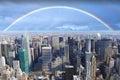 Rainbow over Manhattan New York Royalty Free Stock Photo