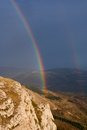 Rainbow over mountains crimea ukraine Royalty Free Stock Photography