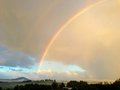Rainbow over new zealand landscape Stock Images
