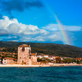 Rainbow over Ouranopolis by Holy Mount Athos Royalty Free Stock Image
