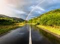 Rainbow over road Royalty Free Stock Photo