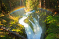 Stock Photos Rainbow over Sol Duc Falls, Olympic National Park