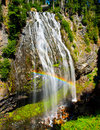 Rainbow over waterfall, Mount Rainier, Washington Royalty Free Stock Images