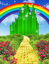 Rainbow over the yellow brick road illustration of way to emerald city with flowers and plants to left and right Stock Photos