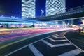 Rainbow overpass cityscape highway night scene Royalty Free Stock Photo