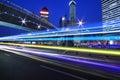 Rainbow overpass highway night scene Royalty Free Stock Photo
