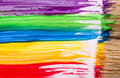 Rainbow paint background wet on paper Royalty Free Stock Photos