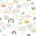 Rainbow pattern. Childish vector seamless pattern with sky, clouds, rain, stars. Cute hand-drawn illustration in