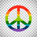 Rainbow peace symbol on transparent background