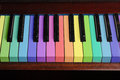Rainbow piano background Stock Photos