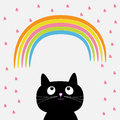 Rainbow and pink heart rain with cute cartoon cat. Flat design style. Royalty Free Stock Photo