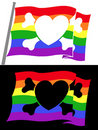 Rainbow pirate flag with heart jolly roger Stock Photography