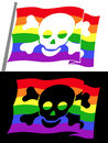 Rainbow pirate flag with skull jolly roger Stock Photos