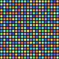 Rainbow polka dot pattern. Seamless vector background