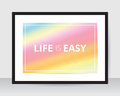 Rainbow poster template pink blur background on white paper black frame gray wall. Royalty Free Stock Photo