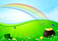 Rainbow and pot with gold Stock Photo