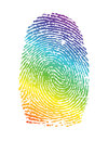 Rainbow pride thumbprint fingerprint illustration design over white Royalty Free Stock Images