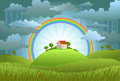 The rainbow protects the small house from a rain and bad weather conceptual illustration Stock Images